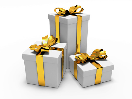 boxs: Gift with gold ribbon on a white isolated Stock Photo