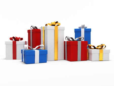 Colorful gift boxes on a white isolated photo