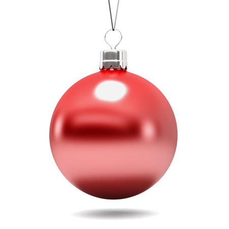 Christmas tree toy - a red ball on a white  Stock Photo - 23709772