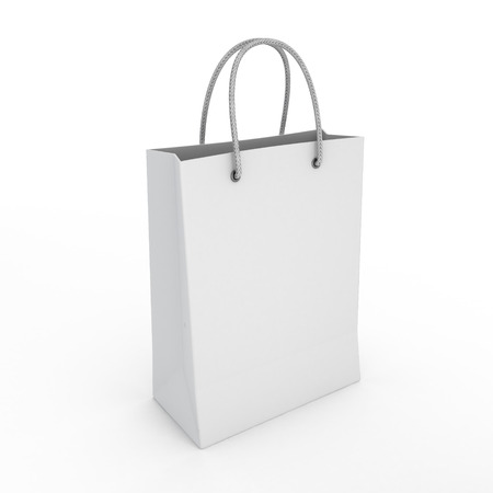 classic white shopping bag on a white background isolated