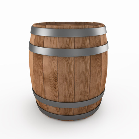 Wooden barrel isolated ona a white background