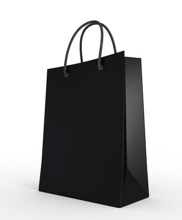 Shopping bag black isolated on a white background