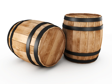 Two wooden barrels on a white background Imagens