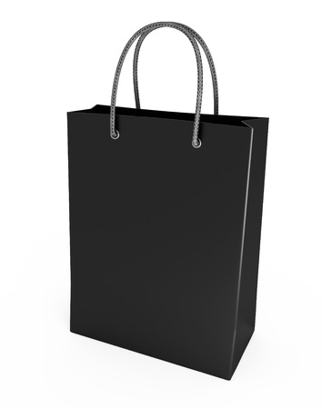Shopping bag black isolated on a white background photo