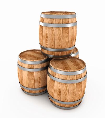 3d houten vaten die op een witte achtergrond. 3d render afbeelding.