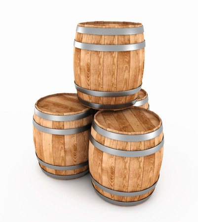 3d wooden barrels isolated on a white background. 3d render image.