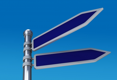 3d render blank directional road signs in sky photo