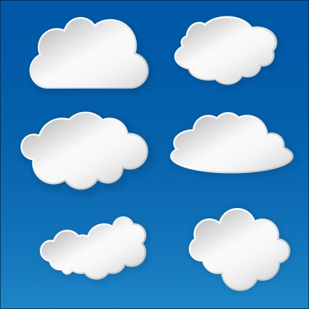 Paper cloud on the blue sky background Vector