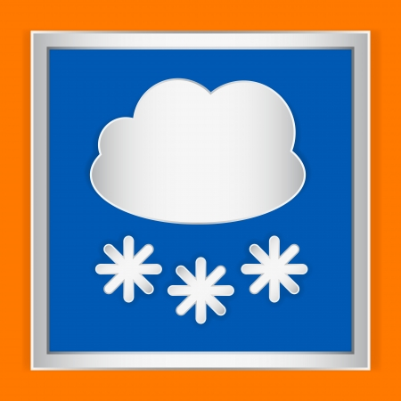 Weather icon cloudy and snow on orange background Vector