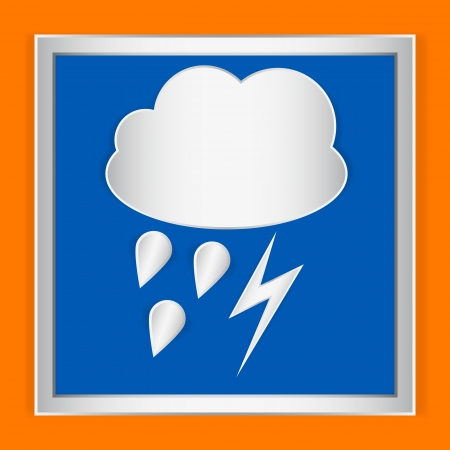 Weather icon storm and rain on orange background Vector