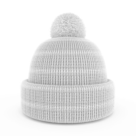 White Knitted hat isolated on a white background. 3d render image. photo