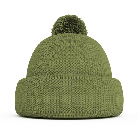 Green knitted winter hat on a white background photo