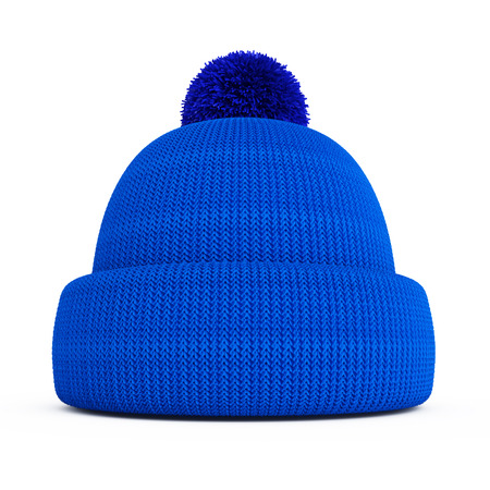 Blue knitted winter hat on a white background photo