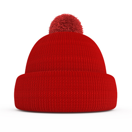 Red knitted winter hat isolated on a white background Imagens