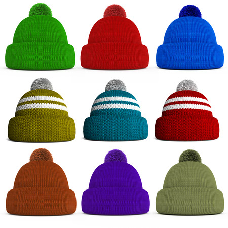 set of knitted winter hats isolated on a white background