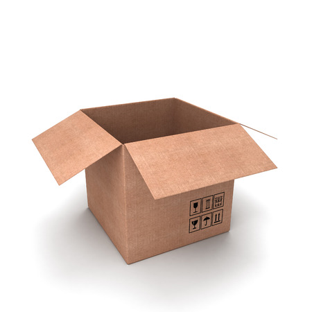 Cardboard box open isolated on a white background photo