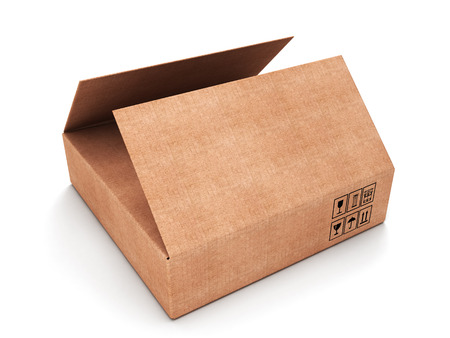 carboard box: Opened rectangular carboard box isolated on a white background