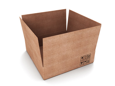 carboard box: Opened carboard box isolated on a white background