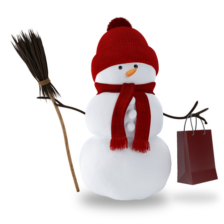 Snowman with a broom and gift bag isolated photo