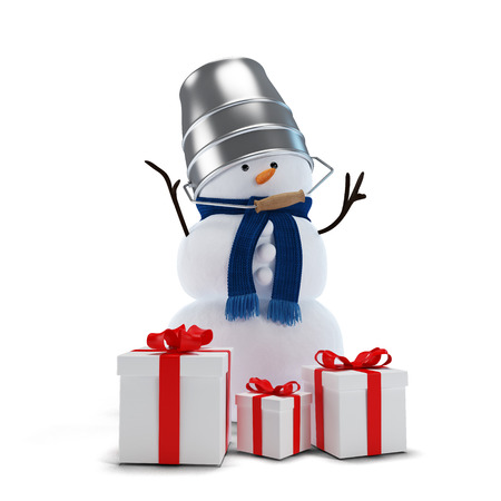Snowman with a bucket and gifts isolated photo
