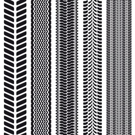 Set of 5 tire treads. Illustration