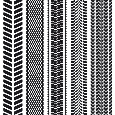 bieżnia: Zestaw 5 bieżników opon. Ilustracja