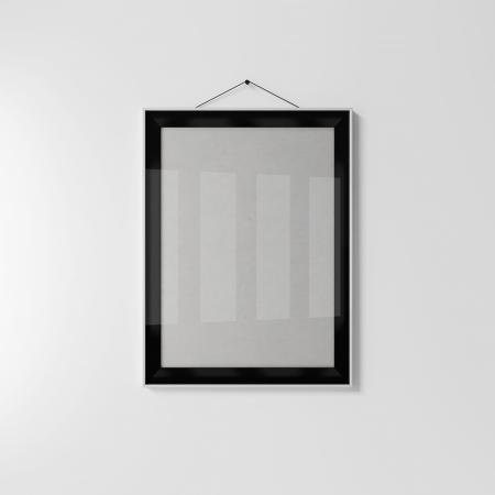 Empty black frame on a gray background photo