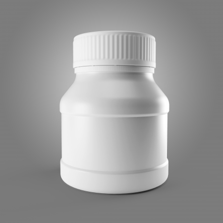 White medicine bottle for pills or capsules isolated. 3d. photo