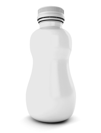 White plastic bottle for drink isolated on a white background. 3d render image.