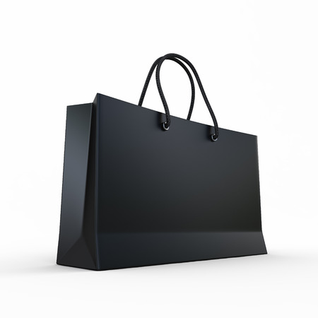 a bag: Package for purchases the black isolated on a white