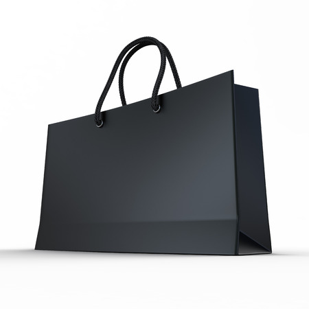 Black glaze paper shopping bag isolated on a white  Imagens