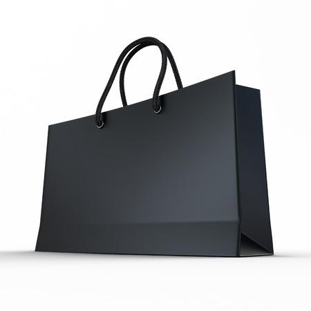Zwarte glazuur papier boodschappentas geïsoleerd op een witte Stockfoto