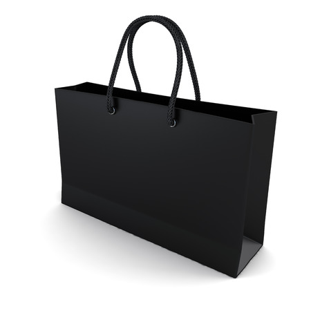Shopping bag black isolated on a white