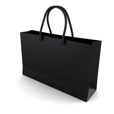 Shopping bag zwart geïsoleerd op een witte Stockfoto