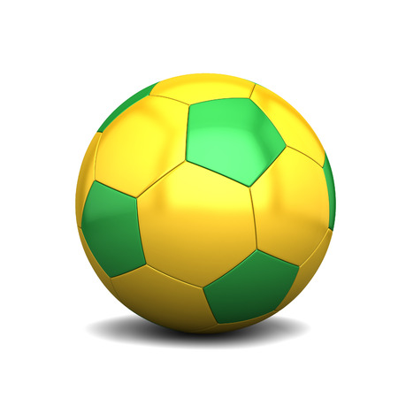 Yellow-green soccer ball isolated on white background