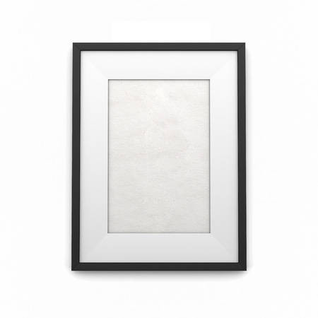 Black picture frame isolated on a white background photo