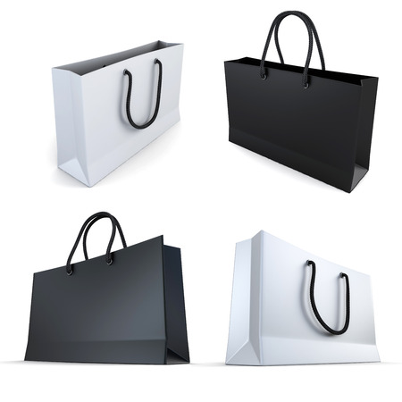 set of white and black bags isaolated on a white background photo