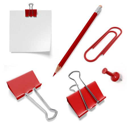 set of stationery from pencil and paper clips isolated on white background photo