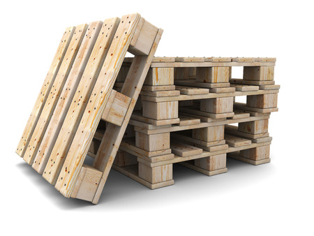 Stack of wooden pallets. One pallet near. Isolated on white. photo