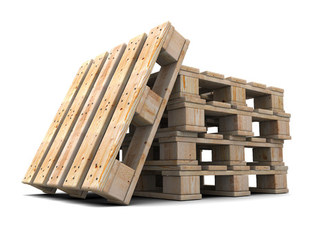 euro pallet: Wooden pallets stack. Isolated on white background. 3d illustration. Stock Photo