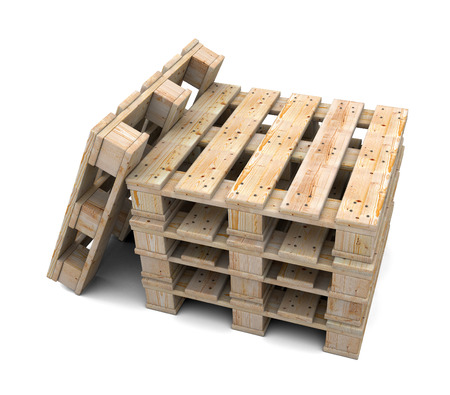 Stack of wooden pallets isolated on white background photo