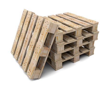 Stack of wooden pallets isolated on a white background. One pallet near. photo