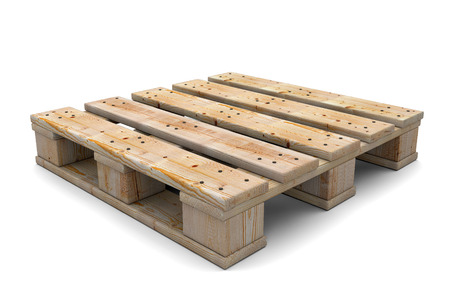 Wooden pallet isolated on white background. 3d illustration illustration