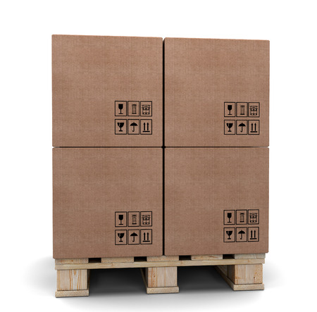 Cardboard boxes on a pallet. Isolated on white background Stock Photo - 26011211