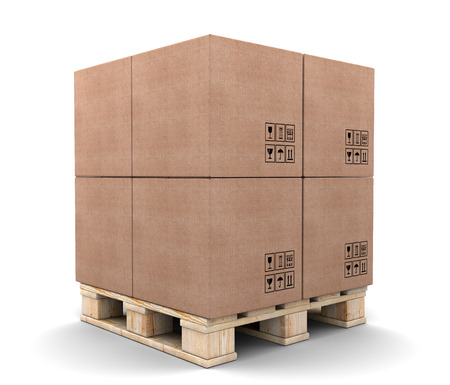 Cardboard boxes on pallet isolated on white background. photo