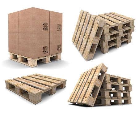 set of wood pallets isolated on white background Stock Photo