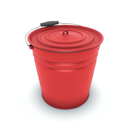 Red metal bucket isolated on a white background photo