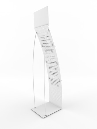 Stand promotional on a white background. Back view. photo