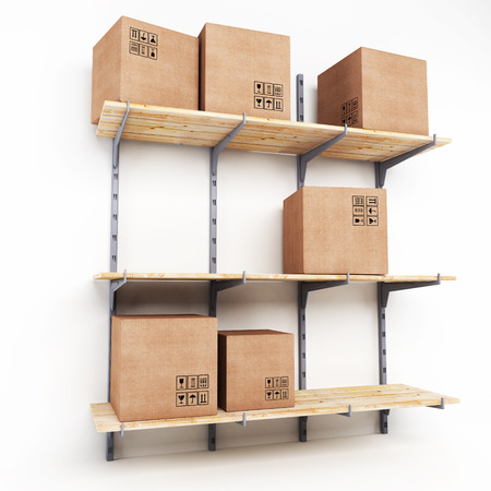 Rack with cardboard boxes isolated on a white background photo