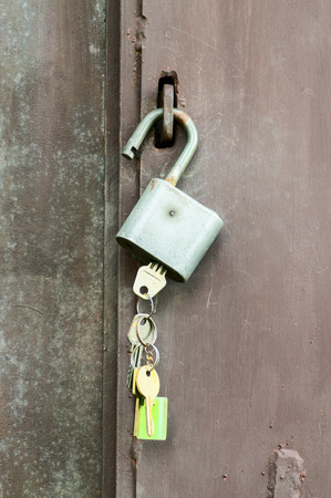 chafe: Keys in the lock hanging on the door handle